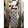 Robe trapèze motif 70's noir et blanc bande rouge Hippocampe