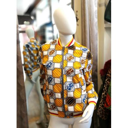 Veste bombers en wax blanc motif carrés jaunes et marrons Hippocampe