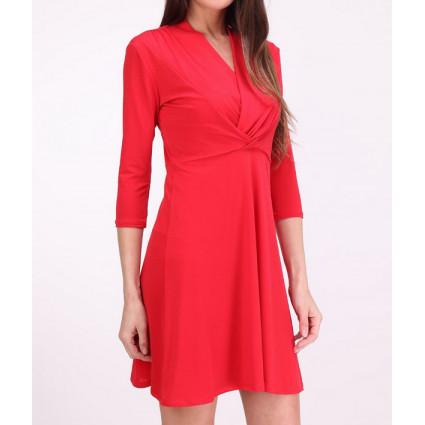 Robe drapé croisé devant rouge
