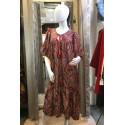 Robe longue droite motif esprit tapisserie rouge Goa