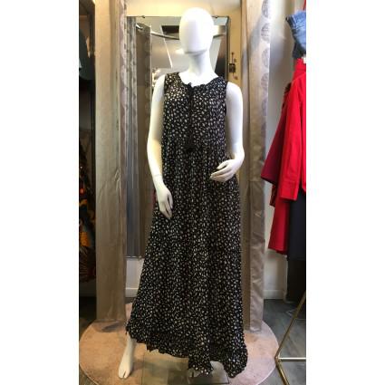 Robe bohème noir tachetée blanc Goa
