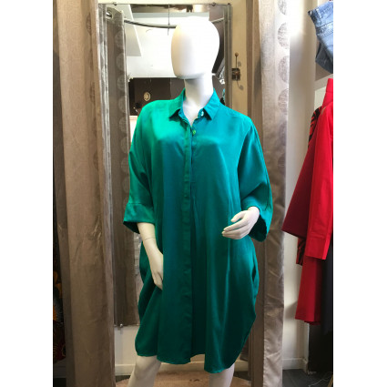 Robe chemise coupe ample verte