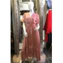 Robe chemise longue rose poudré satiné