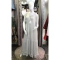 Robe bohème voile blanc ronds paillettes dorés Goa