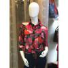 Chemise voile motif fleurs rouge et rose Goa