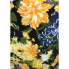 Robe évasée cache-coeur motif fleurs bleu et jaune
