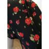 Robe longue cache-coeur noir fleurs rouges Goa