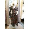 Robe longue voile motif vert fleuri corail côtés courts Goa