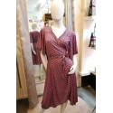 Robe porte-feuille motif esprit wax rose Fifilles de Paris
