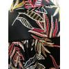 Robe col chemise devant drapé noir motif feuilles rouges et jaunes Fifilles de Paris