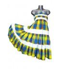 Robe dos nu en madras bleu et jaune avec bandes blanches