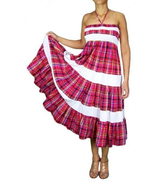 Robe dos nu en madras rose fuschia avec bandes blanches