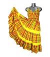 Robe cache-coeur en madras jaune et rouge