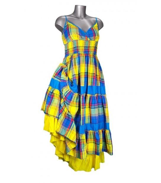 Robe cache-coeur en madras jaune et bleu