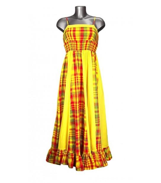 Robe longue en madras jaune et rouge