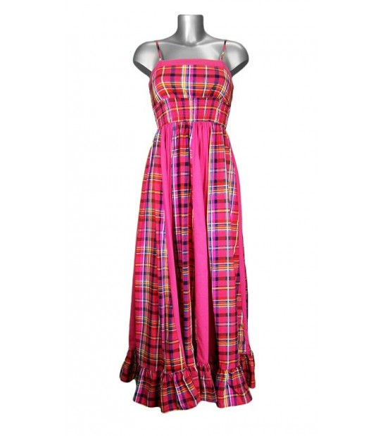 Robe longue en madras rose fuschia