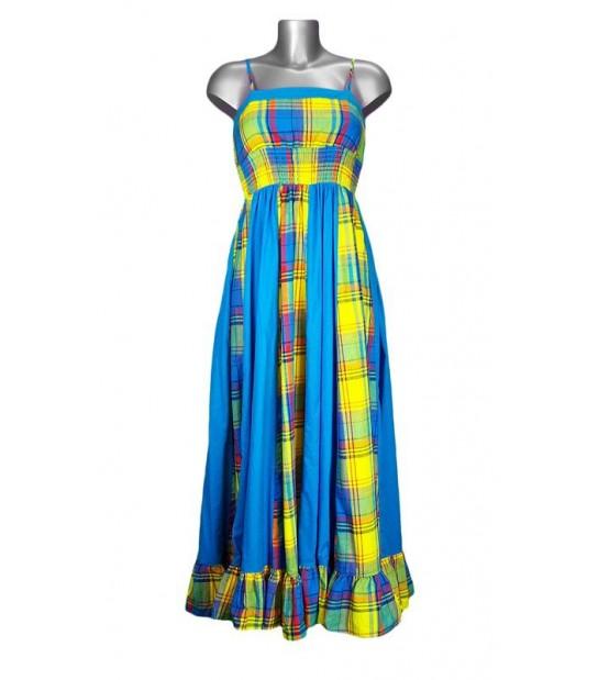 Robe longue en madras jaune et bleu