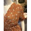 Robe cache-coeur orange à pois beige rayé noir