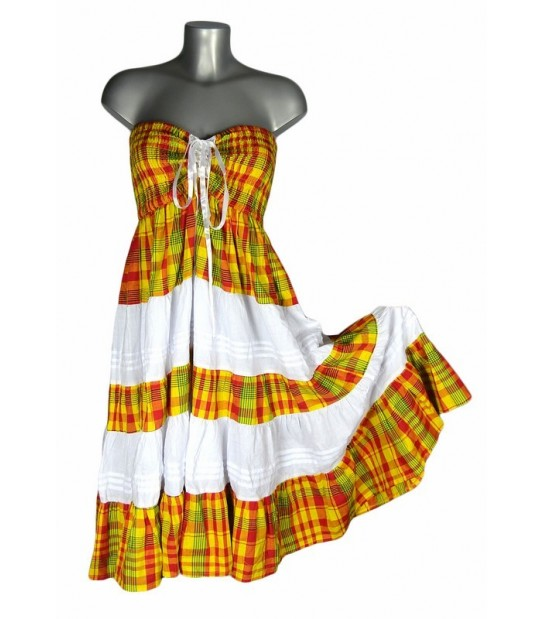 Robe corsage madras jaune et rouge bandes blanches