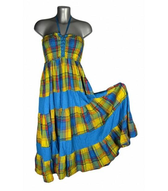 Robe corsage madras bleu et jaune bandes bleues