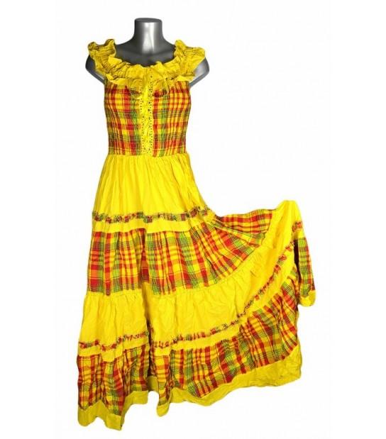 Robe longue madras jaune et rouge broderie jaune