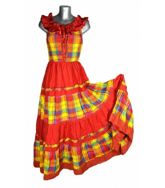 Robe longue madras multicolore broderie rouge
