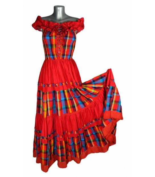 Robe longue madras rouge et bleu broderie rouge