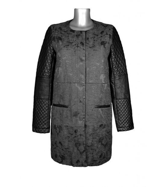 Manteau chic droit noir col rond