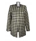 Manteau droit en tweed motif pieds de poule noir et blanc