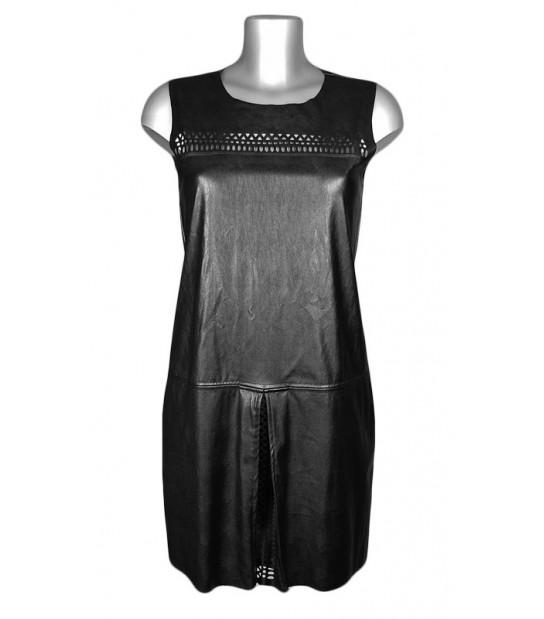 Robe droite noire effet cuir