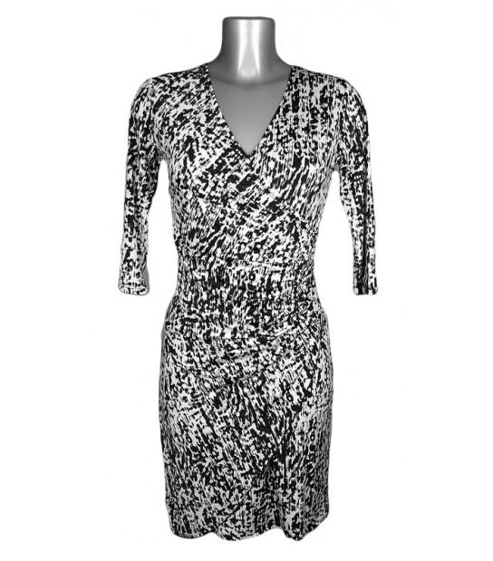 Robe cache-coeur motif tacheté noir et blanc