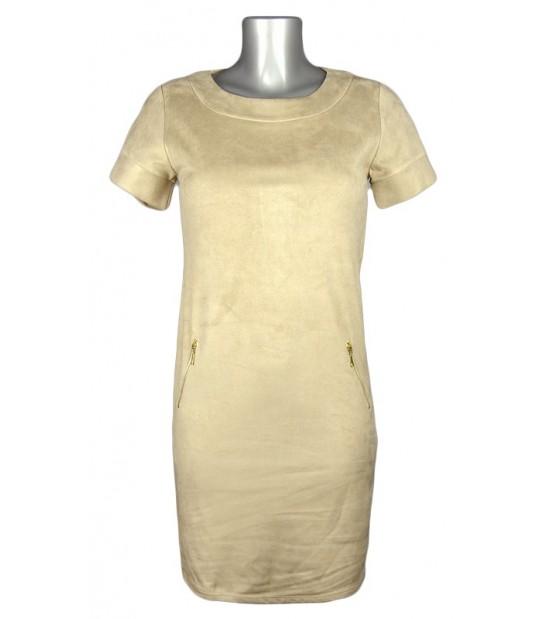 Robe droite suédine zips côtés beige