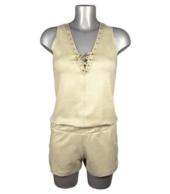Combinaison short corsage suédine beige