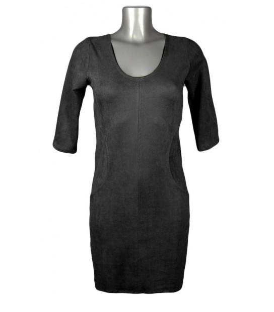 Robe moulante effet daim noir