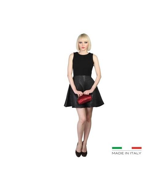 Robe Versace évasée noir bas effet croco
