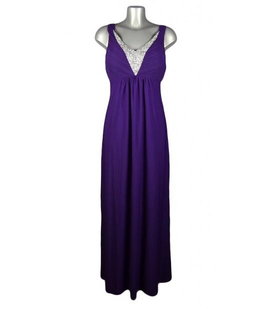 Robe longue décolleté strass voile violet