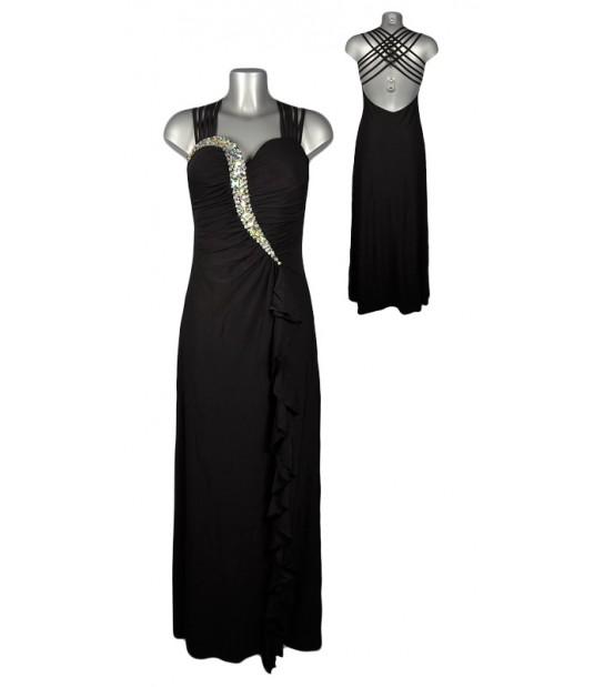 Robe longue noire strass dos liens croisés