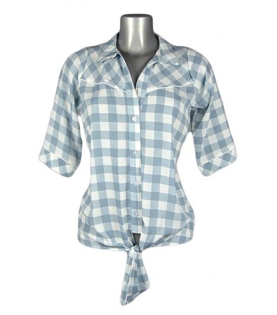 Chemise vintage carreaux blancs et bleu clair