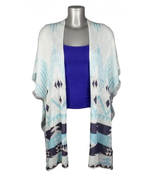 Gilet effet cape motif éthnique blanc et bleu