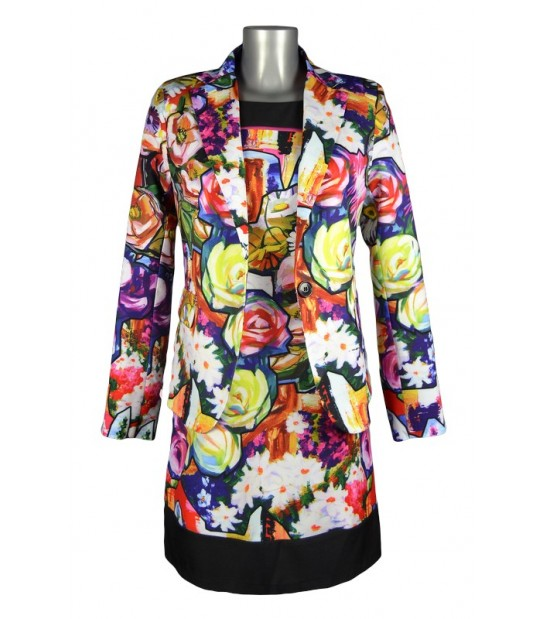 Veste motif tableau fleurs multicolores