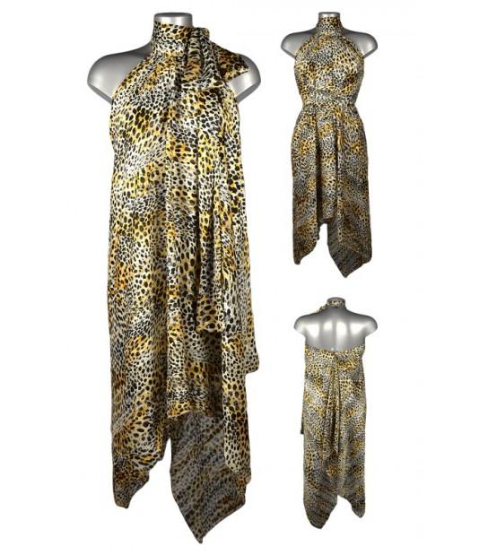 Robe voile asymétrique motif animal jaune