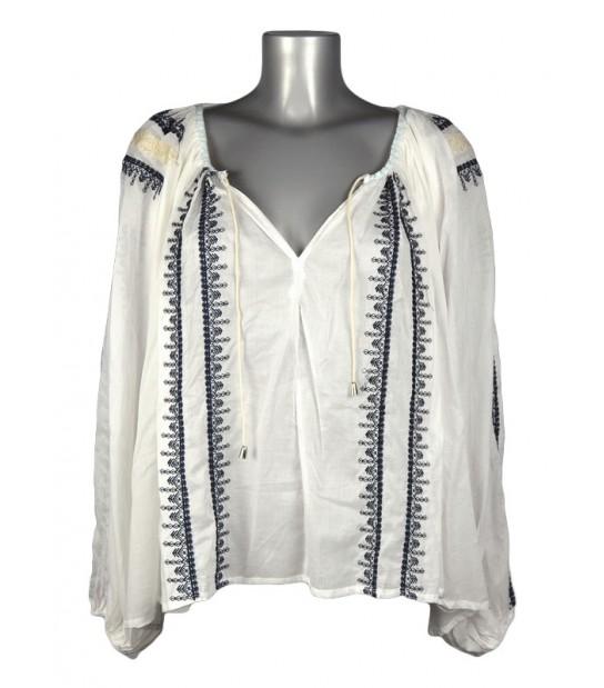 Haut style blouse bohème blanche broderie bleu foncé