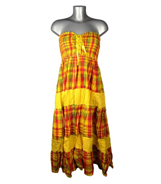 Robe corsage madras jaune et rouge bandes jaunes