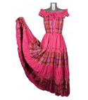 Robe longue madras rose broderie rose