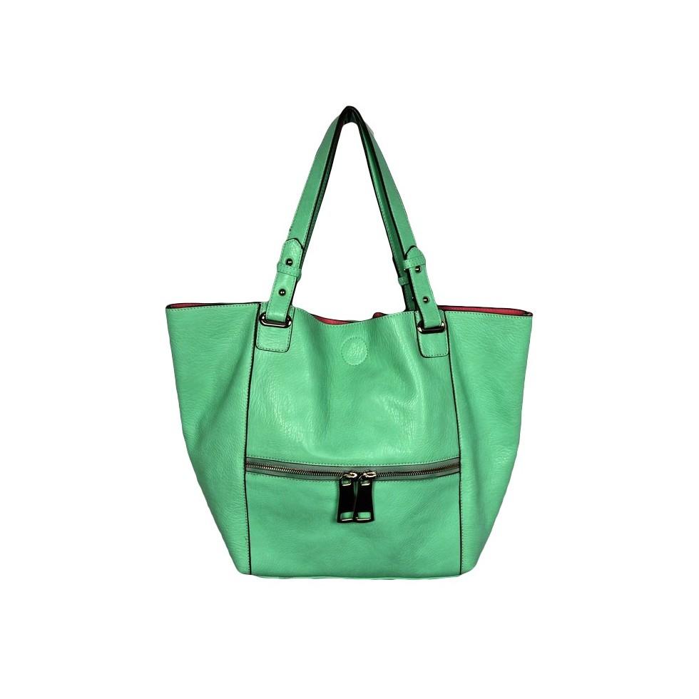 sac main cabas vert zip argent m 39 elle boutique. Black Bedroom Furniture Sets. Home Design Ideas