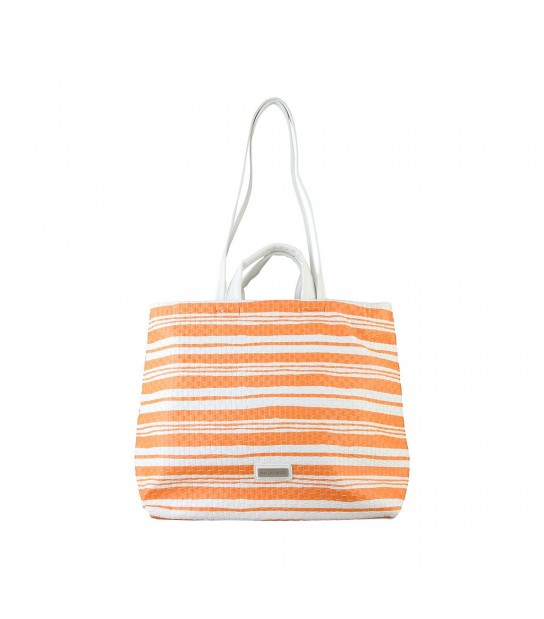 Sac à main Pierre Cardin rayé blanc et orange