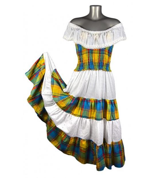 Robe longue Madras smockée bleu et jaune broderie blanche