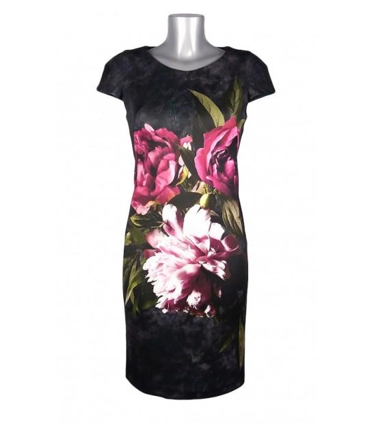 Robe moulante gris foncé fleurs roses