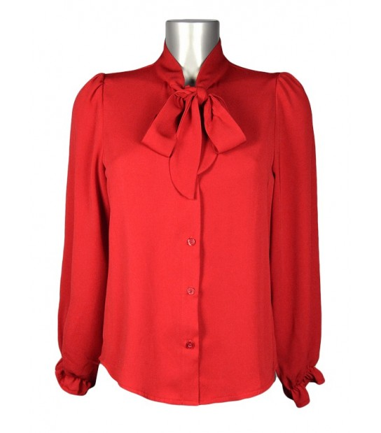 Chemisier col montant foulard rouge