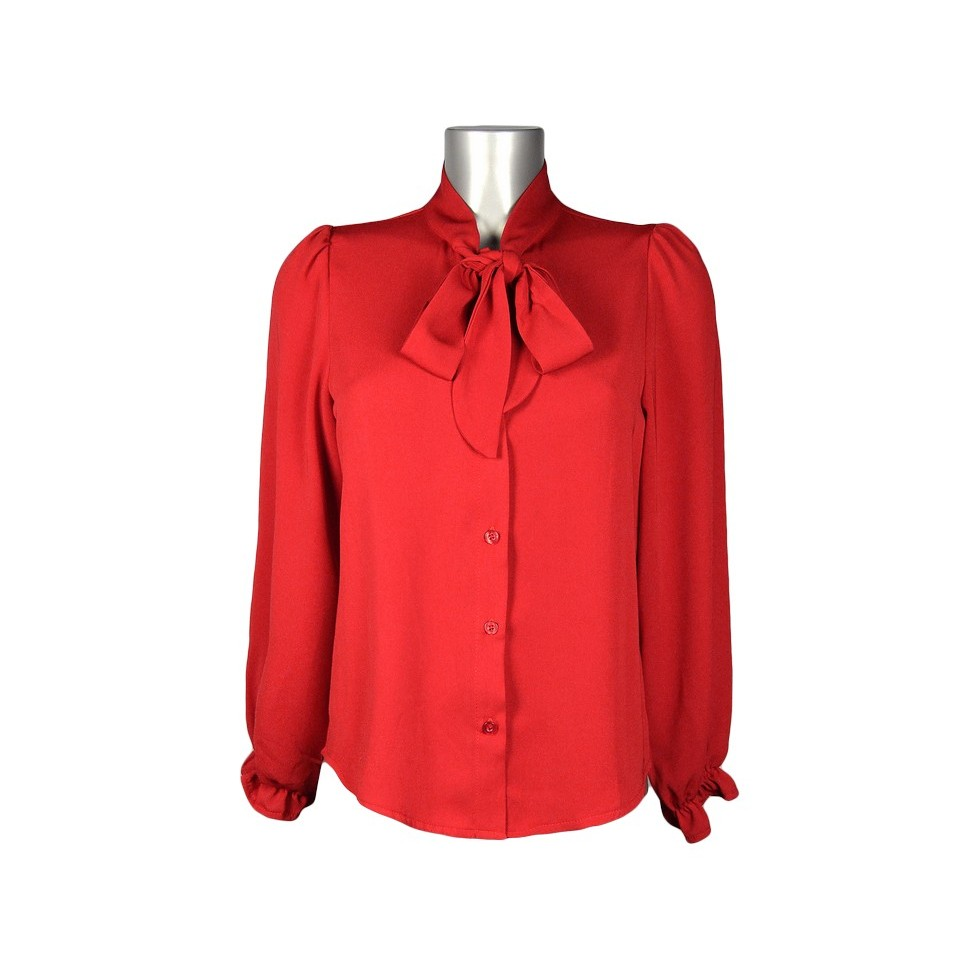 chemisier col montant foulard rouge m 39 elle boutique. Black Bedroom Furniture Sets. Home Design Ideas